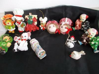 13 Vintage PAPER MACHE Christmas TREE ORNAMENTS Decorations MICE CLOWN GIRL BIRD