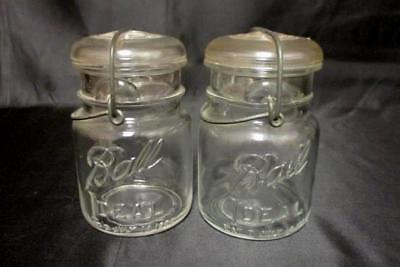 2 Ball Ideal Clear Canning Jars Quart Size PAT July 14, 1908 Wire Bail Glass Lid