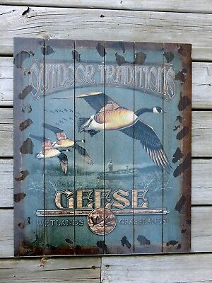 Geese Wood Wall Plaque Hunting Cabin Cottage Decor Wall Decor New 24 x 20 in.