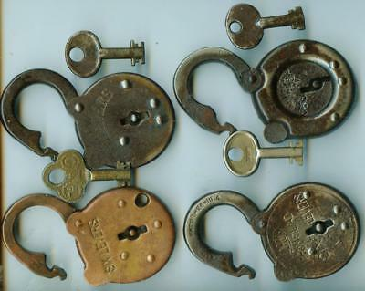 4 Vintage antique mixed lot padlock Lock with working Keys display collection