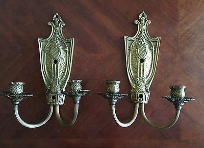 Antique 1920's Brass Art Deco Sconce Wall Vintage Light Fixtures, Old Hollywood
