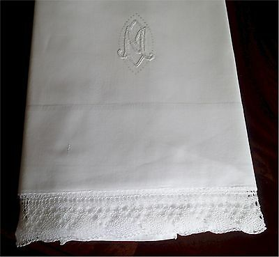 Gorgeous Vintage White Cotton Bed Sheet M Monogram Finely Crocheted Lace