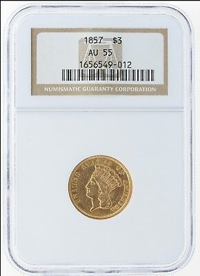 1886 PCGS AU58 $3 Three Dollar Gold With Proof Like Luster