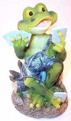 UG Collectible Handcrafted Frog with Playing Cards Resin Figurine PY-351