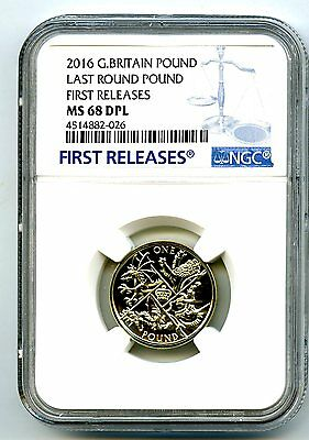 2016 Great Britain Last Round Pound Ngc Ms68 Dpl Deep Proof First Releases Hot!