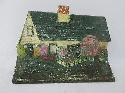 Antique Painted Country Cottage Cast Iron Doorstop