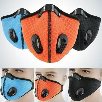 Unisex Anti Smoke Dust Air Purifying Face Mask Filter multi layer Blue/Black