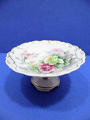 Vintage  Arnart Japan Original Creation Pedestal Dish China Roses Gold Accents