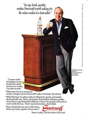 "1982 Author Robert Ludlum photo ""A Best-Seller"" Smirnoff Vodka promo print ad"