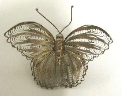 Vintage Beautiful Filigree Butterfly Pin .925 Taxco Handcrafted Brooch Delicate