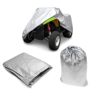 L Universal ATV Quad Bike Cover Silver Waterproof Dustproof Sun Anti-UV Snow