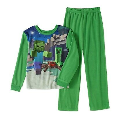 New Minecraft Boys Flannel Sleepwear Set Pajamas Green 6/7, 8, 10/12, 14/16 Nwt