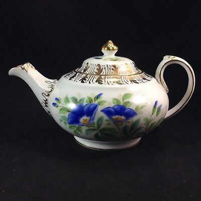 Royal Chelsea Blue Flowers Gold Trim Teapot Tea Pot Vintage Porcelain
