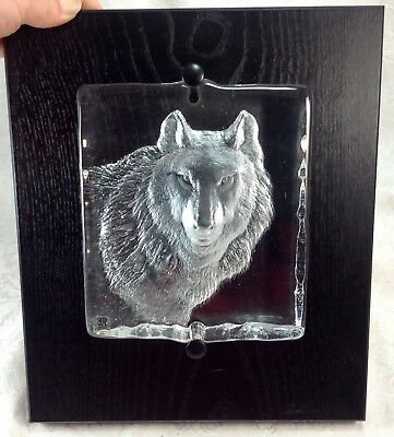 Mats Jonasson Wolf Mounted Plaque Signed Sweden Glass