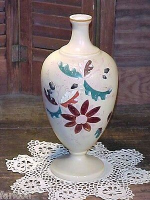 C.1880 MOSER Floral Enameled VASE With ACORNS IN RELIEF