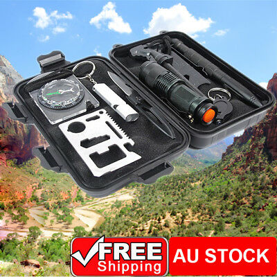 10Pcs Outdoor Survival First Aid Tool Hiking Camping Rescue Gear Emergency Kit