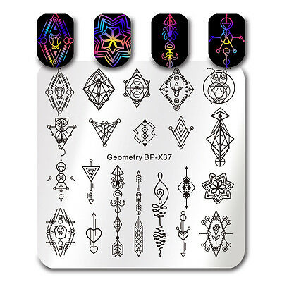 Nail Art Stamping Plate Geometry Arrow Image Printing Template Manicure BP-X37