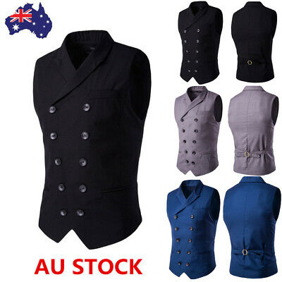 Mens Plaid Double Breasted Slim Waistcoat Business Jacket Vest Suit Blazer M-3XL