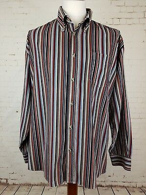 Vtg 90s Striped Corduroy Indie Long Sleeve Button Down Shirt britpop -XL ER21