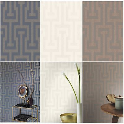 Sparkling Geometric Key Wallpaper Charcoal, Cream, Blue Feature Wall - Rasch New