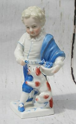 Superb Antique Meissen Johansen Roth Porcelain Boy Playing with His Dog Signed
