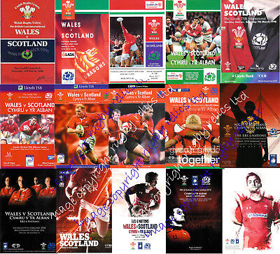 WALES v SCOTLAND 1990 - 2016 RUGBY PROGRAMMES WELSH & SCOTTISH - GOOD+ CONDITION