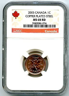 2005 Canada Cent Ngc Ms68 Rd Magnetic Copper Plated Steel Top Grade Super Rare