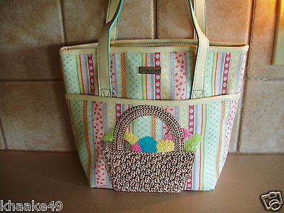 Longaberger Spring Parade Tote Purse Crocheted Basket On Pocket * Free Shipping