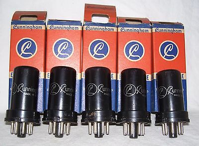 Lot of (5) NOS Cunningham 6SR7 radio tubes in original boxes,matching date codes