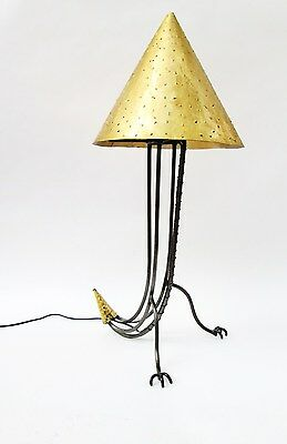 Vintage Postmodern Welded Iron Zoomorphic Claw Foot Table Lamp with Metal Shade