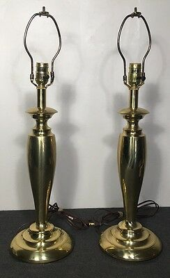 VTG Pair of Stiffel Table Lamps Brass Hollywood Regency Mid Century Heavy