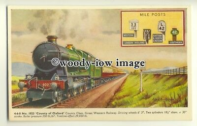 "ry1279 - G.W.R. 4.6.0. No.1023 ""County of Oxford"" County Class - postcard"