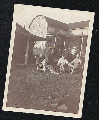 Vintage Antique Photograph Three Men Sitting Outside by Old Country Home Farm