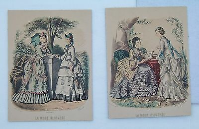 Pair of LA MODE ILLUSTREE Paris Vintage French Fashion Prints On The Board
