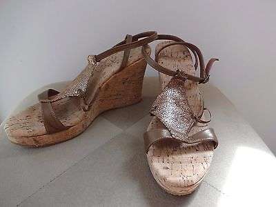 7a13830cb160 Cordani Leather Ankle Strap Brown Wedge Cork Platform Sandals Shoes 38 New