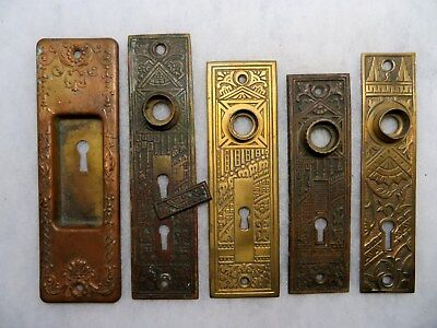 Eastlake Bronze Brass Door Knob Key Hole Escutcheon Back Plate Backplates