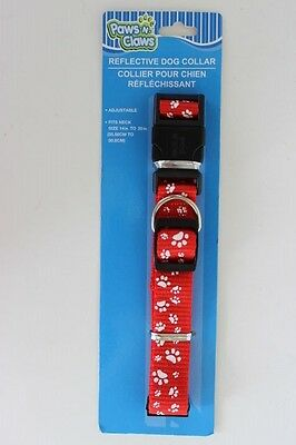 """PAWS N CLAWS Red Nylon Dog Collar White Paws Adjustable 14"""" - 20"""" Reflective"""