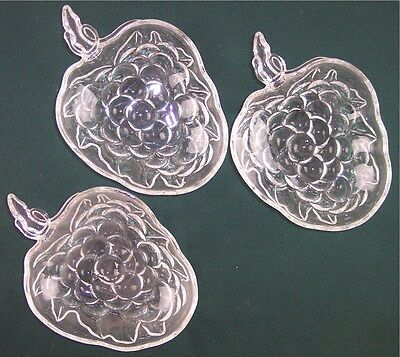 Vintage Set of 3 Clear Glass Grape Cluster Nut Candy Dishes