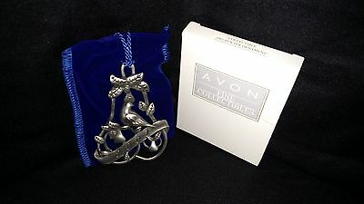 2001 Avon Pewter Ornament Partridge in a Pear Tree Velvet Pouch New in Box