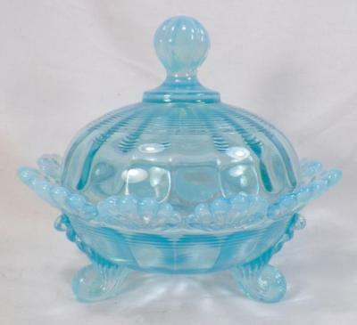Fluted Scrolls Puff Box Blue Opalescent Glass Northwood Small Butter Dish EAPG