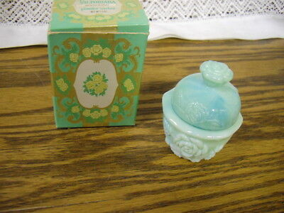 Vintage Avon Victorian Glass Powder Sachet Jar With Lid /box Jadeite Green