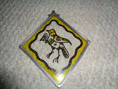 1870's antique framed stain glass section church bird clear base yellow accents
