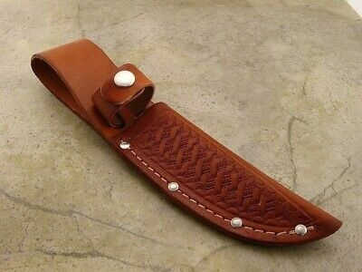 "Knife Sheath Leather Basketweave up to 4 1/4"" Fixed Blade Standard Straight"