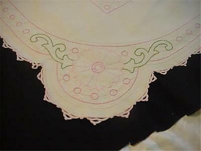 Unusual Antique Embroidered White Linen Tablecloth Shapely Form Pink Green WOW!