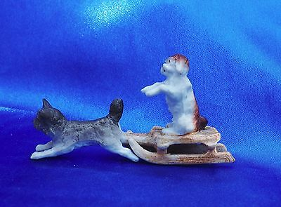 Antique Miniature Norwich Norway Scotty sled dog pulls King charles Spaniel *