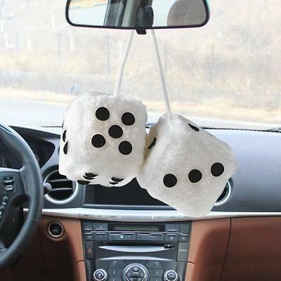 1 Pair PLUSH HANGING CAR DICE fuzzy die hot rod mirror hanging new - Y2