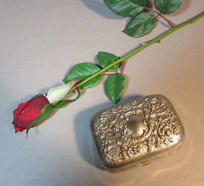 Victorian Repousse Silver Trinket Box w/Ornate Scroll Work In Art Nouveau Style