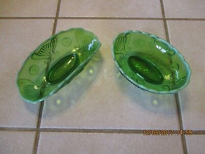 Vintage Green Jewel and Fan Opalescent Glass Banana Boat Bowl Set of 2