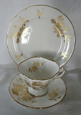 HAMMERSLEY England  stunning gold floral  on white TRIO cup saucer dessert plate