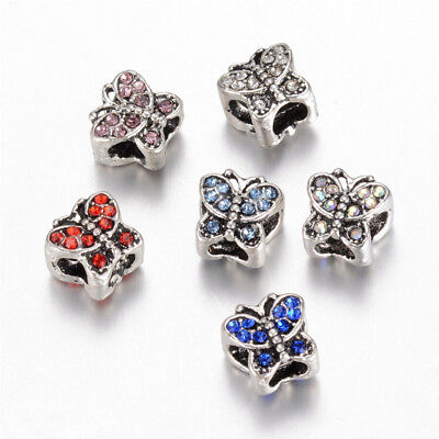 5 x Antique Silver Butterfly Alloy Rhinestone European Large Hole Beads 9x10x9mm